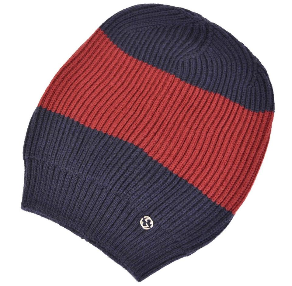 9960b3cd2a4d9 ... Gucci Beanie Hats For Men  Gucci Blue And Red New Men s 310777 Wool  Interlocking Gg