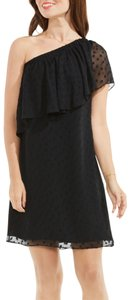 Vince Camuto Pleated One Shoulder Night Out Dot Dress