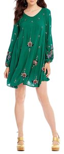 Free People short dress Green Combo Floral Swing Boho Mini Embroidered on Tradesy