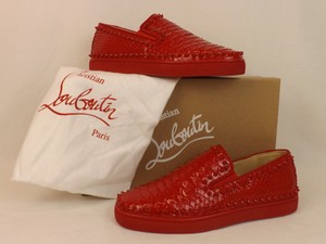Christian Louboutin Red Pik Boat Python Leather Spikes Sneakers 45 12 Shoes