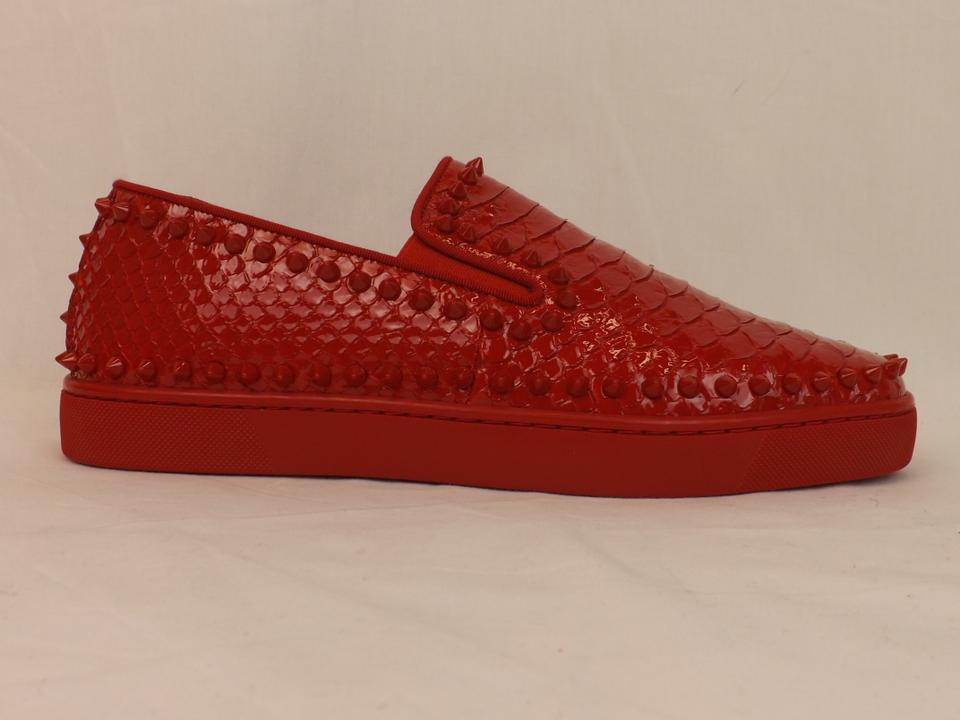 nouveau concept ac4b1 51cdd Christian Louboutin Red Pik Boat Python Leather Spikes Sneakers 45 12 Shoes  28% off retail