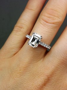 White One Of Kind Egl Certified Emerald Cut Diamond Engagement Ring