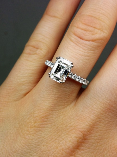 Diana M White One Of Kind Egl Certified Emerald Cut Diamond Engagement Ring Diana M White One Of Kind Egl Certified Emerald Cut Diamond Engagement Ring Image 1