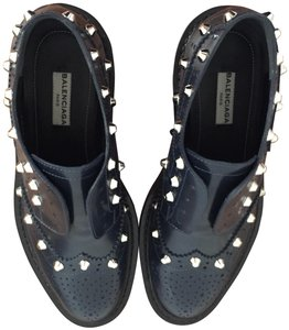 Balenciaga Studded Wing-tip Brogue Details Slip-on Style Made In Italy Dark Blue (Bleu Obscur) Formal
