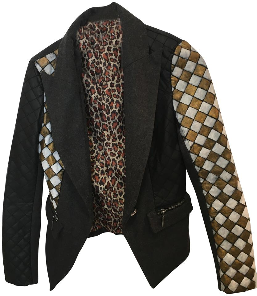 Quilted Blazers: Black Asymmetric Quilted Blazer Size 8 (M)