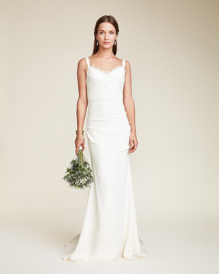 52228cf10f82 Nicole Miller Bridal Ivory Stretch Crepe Tonya Feminine Wedding Dress
