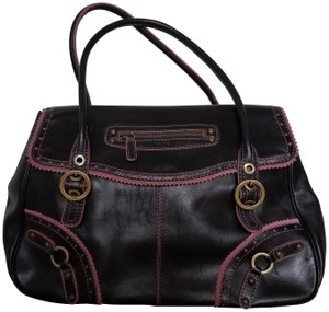 Rafe Leather Satchel in Black/Pink