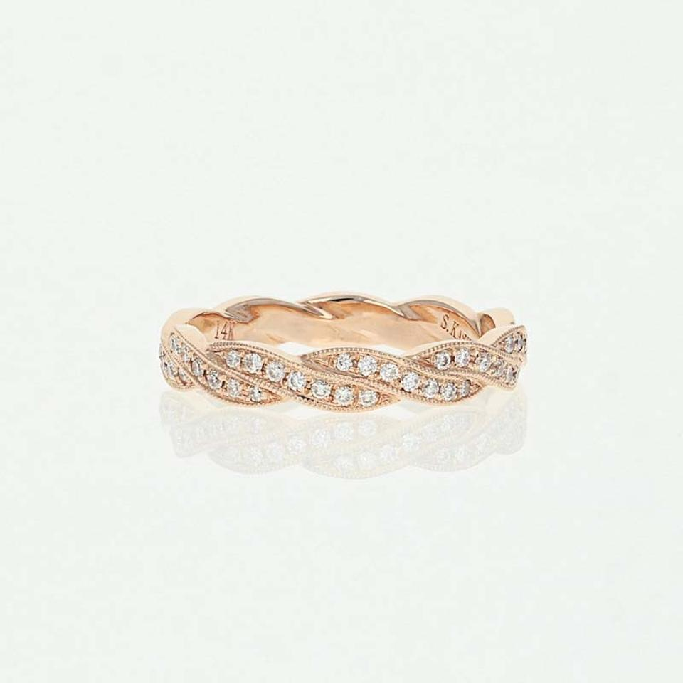 fascinating her his nl white matching rg with jewelry and rose in wedding anniversary bands diamond round gold band
