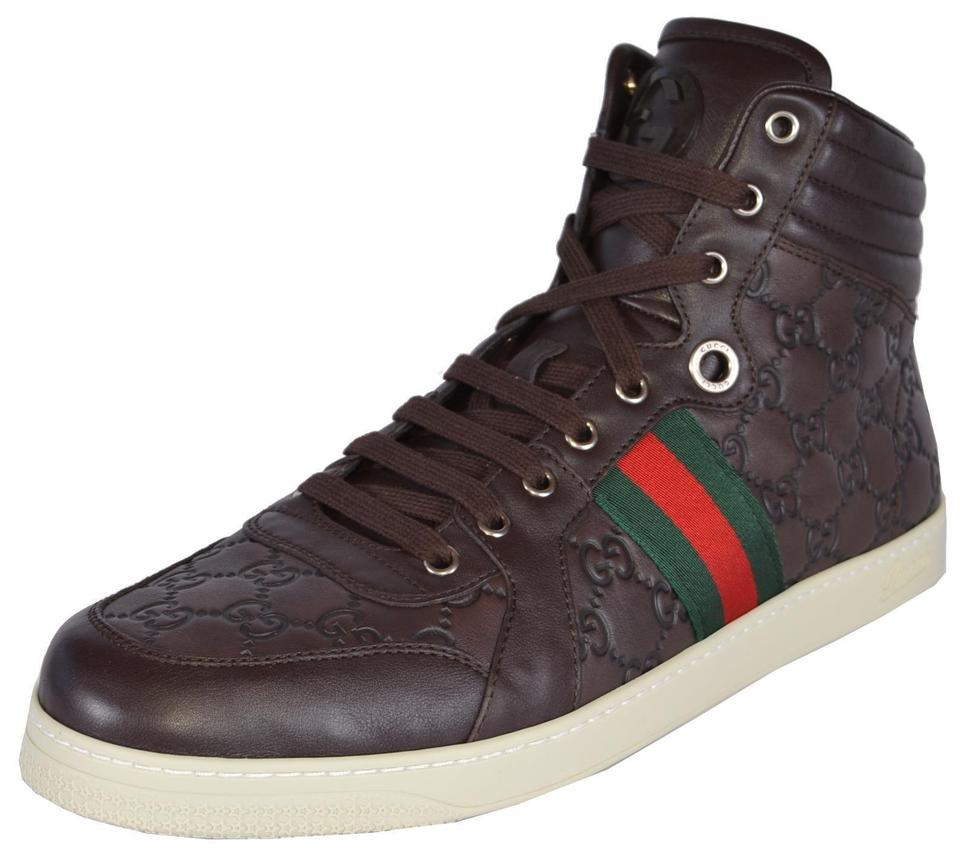 66f3dd12f Gucci Brown New Men's Leather Red Green Web Gg Guccissima Coda 7.5us ...
