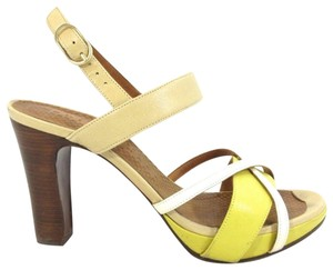 Chie Mihara Color-block Strappy yellow/tan/white Sandals
