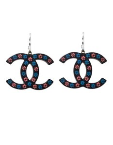Chanel Chanel Black, Blue & Pink Floral CC Earrings
