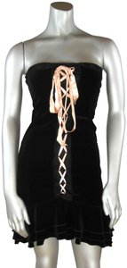 Wheels & Dollbaby Lace Up Ribbon Strapless Pin-up Retro Dress