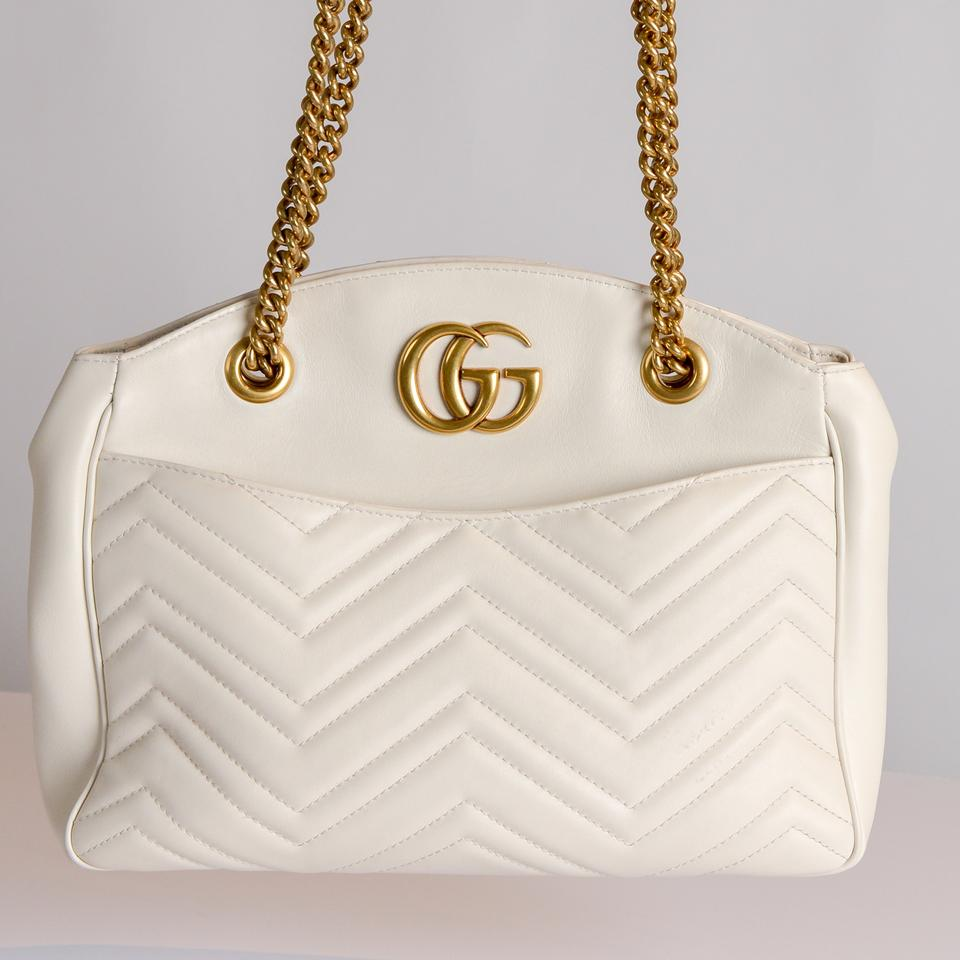 9a8a5150eab3 Gucci Marmont Gg 2.0 Medium Quilted White Leather Shoulder Bag - Tradesy