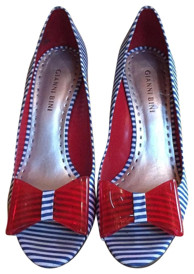 "4a8ae334bc3 Gianni Bini Navy White Red ""patriotic"" Blue   Stripe Red Bow Open Toe  Pumps. Size  US 8 Regular (M ..."