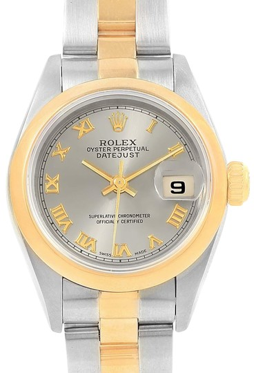 Preload https://item1.tradesy.com/images/rolex-slate-datejust-steel-yellow-dial-ladies-69163-box-pap-watch-22634990-0-1.jpg?width=440&height=440