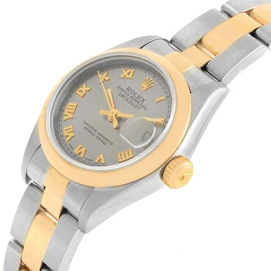 Rolex Rolex Datejust Steel Yellow Gold Slate Dial Ladies Watch 69163 Box Pap