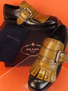 Prada Sughero/Black Tobacco Leather Fringe Brogue Buckle Dress Loafers 7.5 Us 8.5 Shoes