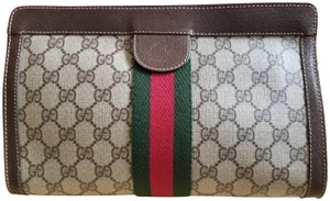 Gucci Great Everyday Cosmetic Bag/Clutch Great For Travel Velcro Top Closure Early Brown Clutch
