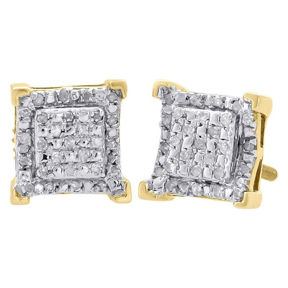 Jewelry For Less 10k Yellow Gold Diamond Stud 7 75mm Earrings 0 15 Ct