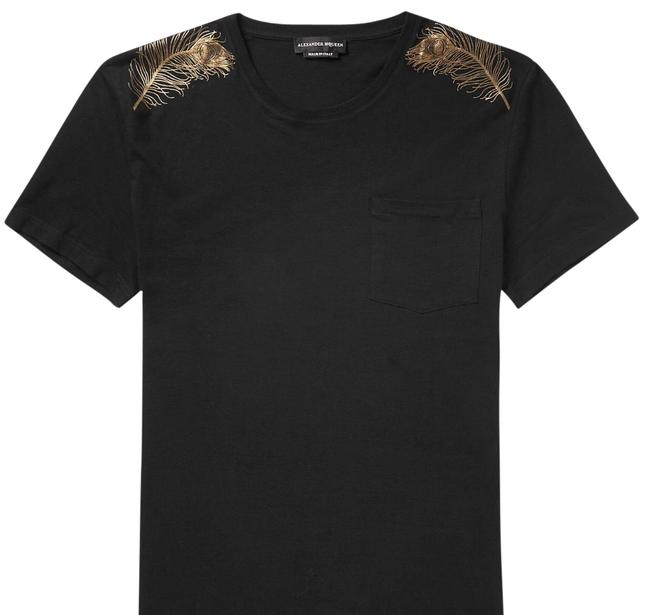 Item - Black/Gold Peacock Feather T-shirt Tee Shirt Size 22 (Plus 2x)