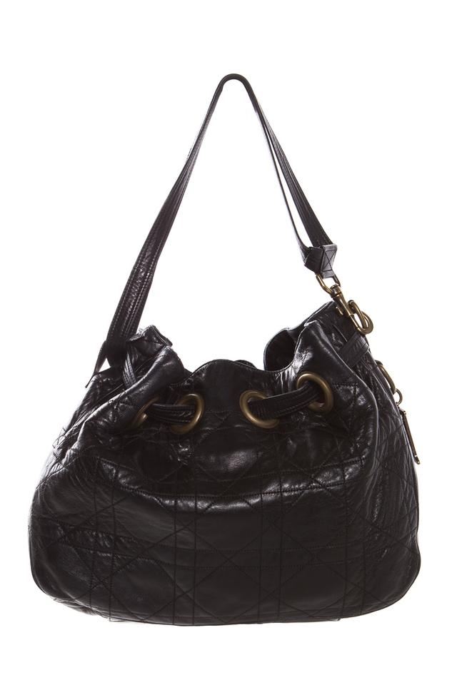 f2c2fea10e Dior Cannage Quilted Bucket Black Leather Shoulder Bag - Tradesy