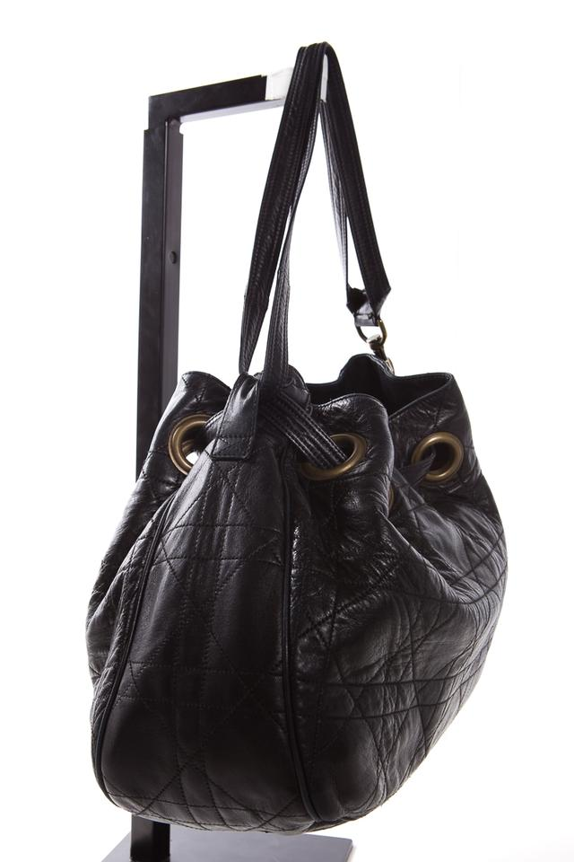 08272c1c7cc4 Dior Cannage Quilted Bucket Black Leather Shoulder Bag - Tradesy