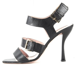 Kate Spade Leather Gold Hardware Buckle Strappy Stiletto Black Sandals