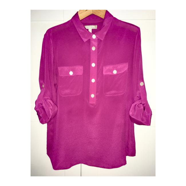 Item - Pink Silk Popover Blouse Button-down Top Size 8 (M)