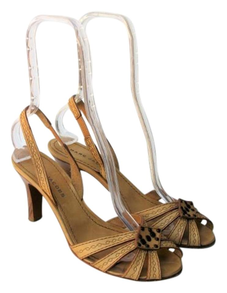 4d79fb457ef Marc Jacobs Camel Made In Italy Strappy Slingback Studded Caged Sandals