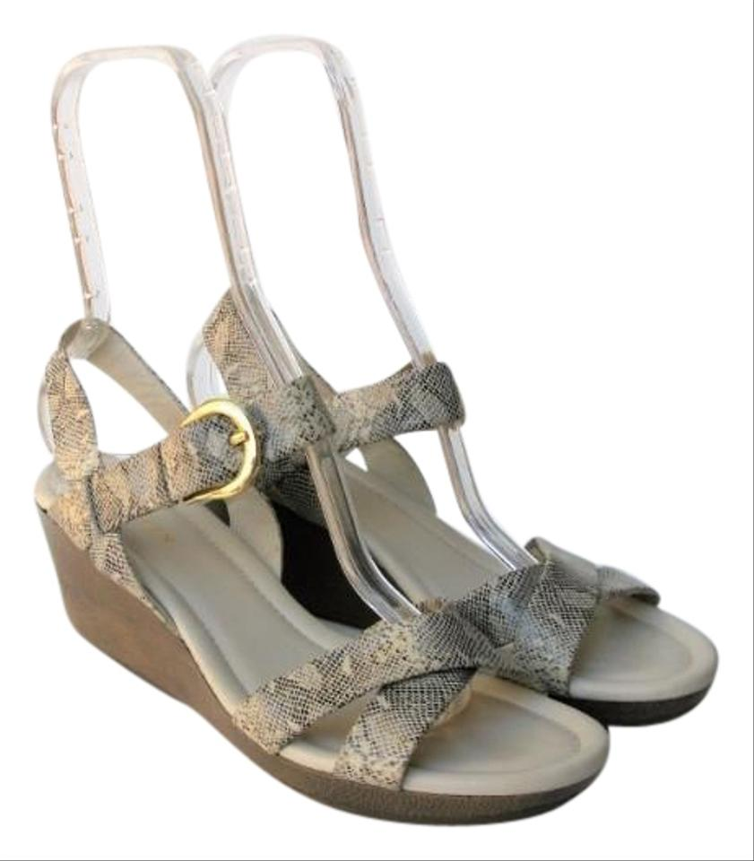 9e14626de0fa Cole Haan Cream Air Tali Low Wedge Snakeprint Sandals Size US 9 ...