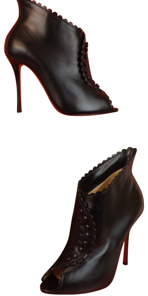 Deguise Louboutin Peep Christian Buttons Black Booties Scalloped Boots Pumps Leather w6qxq