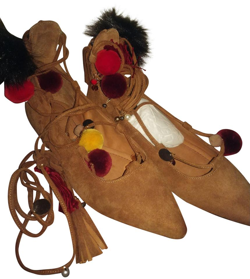 Alameda with Turquesa Brown Tan Multiple Suede Flats with Alameda Pompoms and Tassels Boots/Booties 0234b6