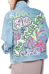 Topshop Oversized Colorful Jean Womens Jean Jacket