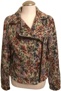 Free People Tapestry Floral Moto Zippers Motorcycle Jacket