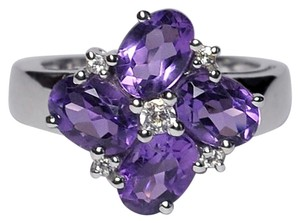 NY Collection Natural Purple Amethyst Topaz Cluster Flower Womens Ring 925 Silver