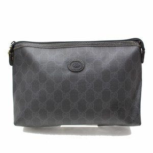 Gucci Zip Pouch Cosmetic Pouch Make Up Pochette Black Clutch