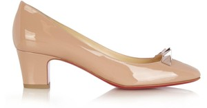 Christian Louboutin Leather Rose Gold Nude Pumps