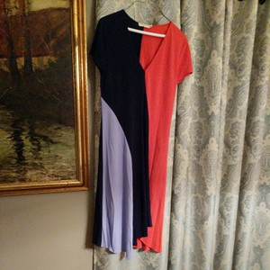dark blue, light blue and red Maxi Dress by Tory Burch Color Block Size L V Neck Asymetrical