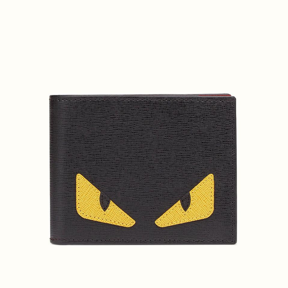 4b69914ff3d6 Fendi Fendi Men Monster Smooth Leather Classic Wallet Black Yellow Image 0  ...