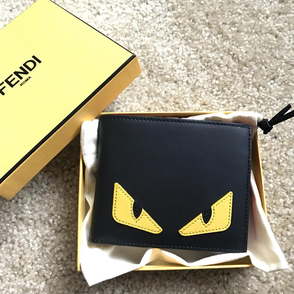 363ba4605f46 Fendi Fendi Men Monster Smooth Leather Classic Wallet Black Yellow Image 9.  12345678910