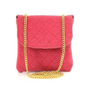Chanel Chanel Rose Pink Quilted Cotton Mini Coin Case on Chain