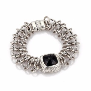 David Yurman ALBION Diamond & Onyx Sterling Cable Link Wide Chain Bracelet
