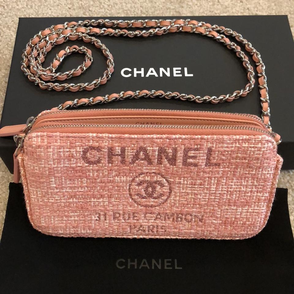 48800f867888 Chanel Wallet on Chain Deauville Pink Calfskin Leather and Canvas ...