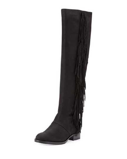 Sam Edelman Black Josephine Suede Leather Fringe Slouch