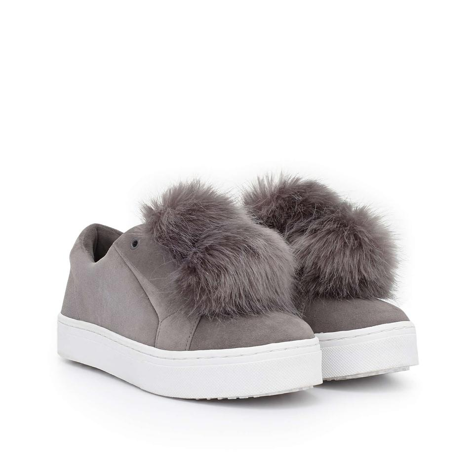 6719e3f149a37 Sam Edelman Sneaker Yeezy Puff Ball Faux Fur Party Grey Athletic Image 0 ...