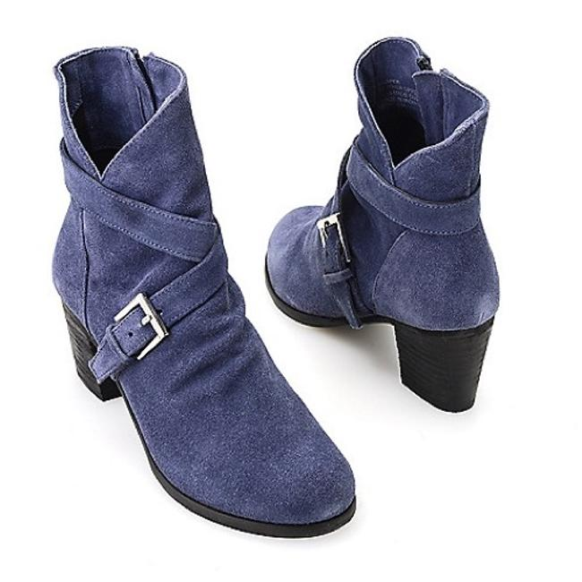 "Matisse Denim Blue ""Harper"" Buckle Detail Real Suede Slouch Boots/Booties Size US 8 Regular (M, B) Matisse Denim Blue ""Harper"" Buckle Detail Real Suede Slouch Boots/Booties Size US 8 Regular (M, B) Image 1"