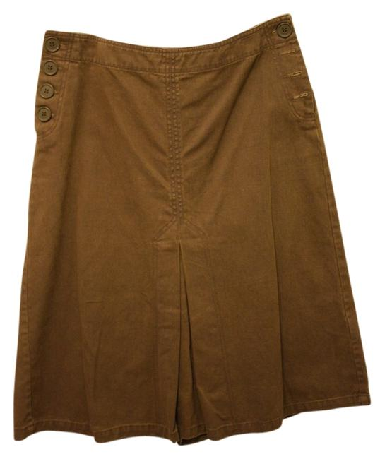 H&M Canvas Denim Jean Pleated A-line Tea Length Western Mod Skirt Brown