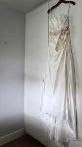 David's Bridal Ivory Satin Charmeuse Side-drape Gown with Sash Feminine Wedding Dress Size 4 (S)
