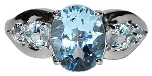 NY Collection Real Blue Topaz 5 Stone Promise Band Womens 925 Sterling Silver