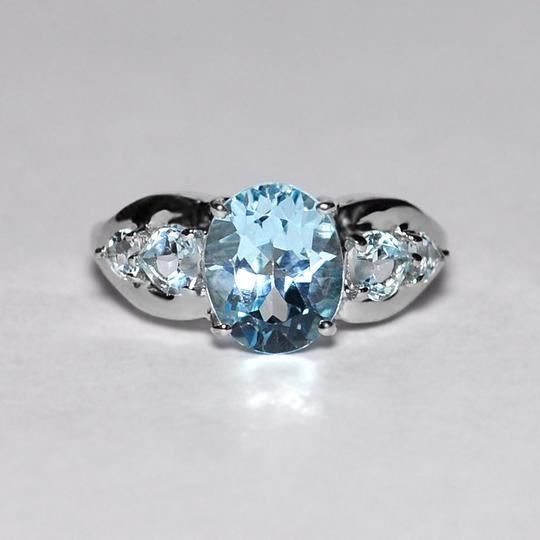 NY Collection Real Blue Topaz 5 Stone Promise Band Womens 925 Sterling Silver Image 2